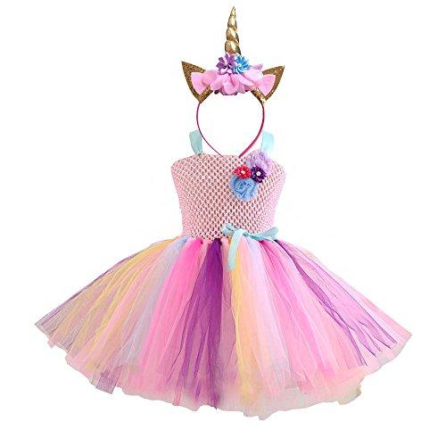 DIXIUZA Meisjes Eenhoorn Bloem Prinses Jurk Kostuum Cosplay Verjaardagsfeestje Jurken Up
