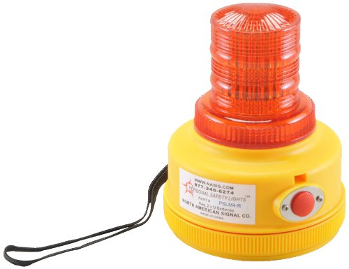 North American Signal PSLM4-R LED Personal Safety Warning Light with Magnetic Mount, Programmable Battery Operated, Red