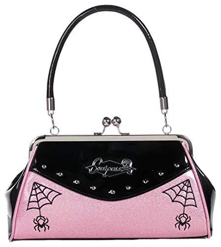 Sourpuss Webbed Widow Purse Black/Pink (Sourpuss Handbags)