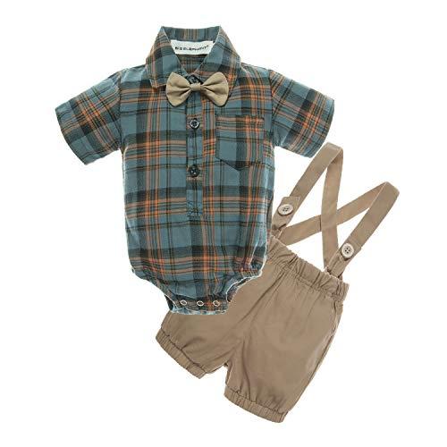 BIG ELEPHANT Baby Boys' 2 Piece T-Shirt Suspender Shorts Clothing Set]()