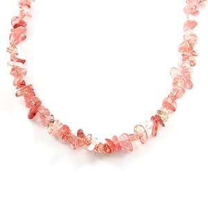 MGD, Kunzita cuentas Color 83,82 cm hebra sencilla de Rosa joyería collar para mujer, y adolescentes y niñas., JB-0114N