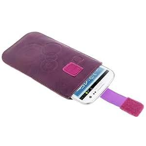 DapurMu - Lichi Texture Leather Case Pocket Pouch Sleeve Bag with Pull Tab for Samsung Galaxy S IV / i9500, Galaxy SIII / i9300, Galaxy Nexus / i9250 (Purple)
