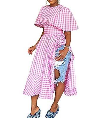 Remelon Womens Casual Short Sleeve Plaid Print Pleated Ruffle Tunic Side Split Long Maxi Blouse Top Dress