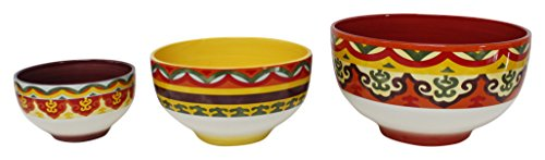 Euro Ceramica Galicia Collection Andalusian-Inspired Ceramic Mixing Bowls, 3 Piece Set, Vibrant Assorted Patterns & Sizes, Multicolor - Galicia Collection