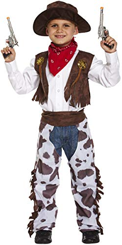 Boys Kids Childrens Cowboy Wild West Sheriff Halloween Fancy Dress Costume Outfit (10-12 Years) Brown -