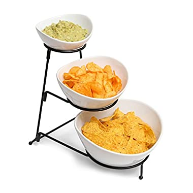 3 Tiered Chip and Dip Set with Metal Rack, Three Tier Dessert and Snack Server