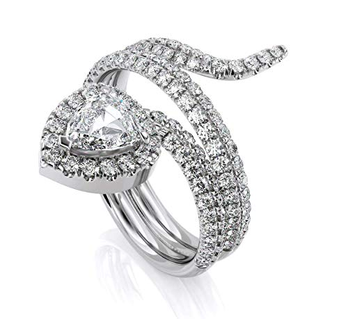 (Jewlery By Bruno Trillion & Round Cut White Natural Anniversary Diamond Band Snake Ring in 18k Solid White Gold (1.55 cttw))