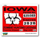 Iowa IA Zombie Hunting License Permit Red - Biohazard Response Team - Window Bumper Locker Sticker
