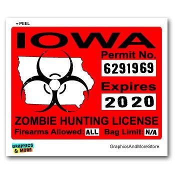 Iowa IA Zombie Hunting License Permit Red - Biohazard Response Team - Window Bumper Locker Sticker