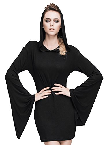 Sorcière Avec Capuche Noir Robe Occulte Évasées Moulante Manches Et Noire Devil Fashion O4zwIT