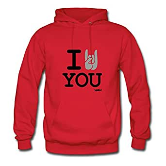 Informal I Rock You Hoody Vogue Designed Red Cotton X-large Women Custom-made