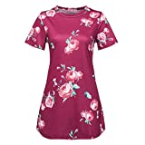 TnaIolral Ladies T-Shirt Short Sleeve Floral Print Casual Blouse Tops Red