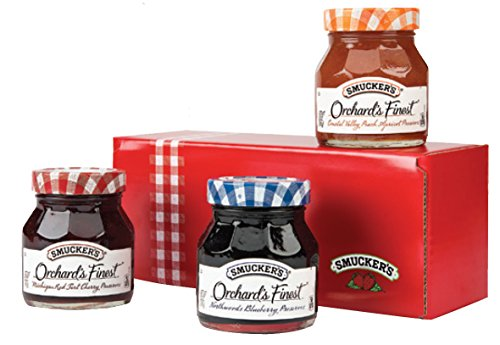 Smucker's Orchard's Finest 12 oz Fruit Spreads, Variety Pack of 3 (Michigan Red Tart Cherry Preserves, Northwoods Blueberry Preserves, Coastal Valley Peach Apricot Preserves) Gift Box Set Peach Apricot Essence