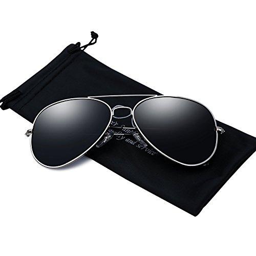 Mens Aviator Sunglasses Polarized Metal Frame Black Sun ()