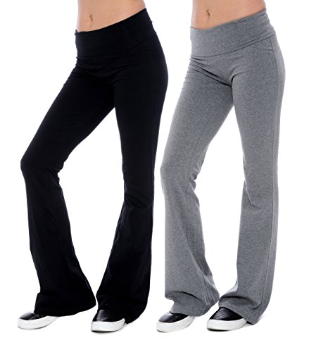 Gap Yoga Pants - Unique Styles Fold-Over Waistband Stretchy Cotton Blend Yoga Pants (Medium-2Pack Black & Grey)