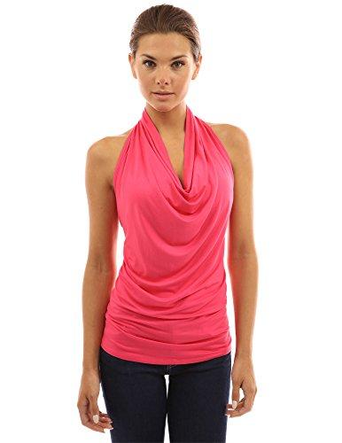 PattyBoutik Women's Halter Drape Cowl Neck Top (Deep Pink L)
