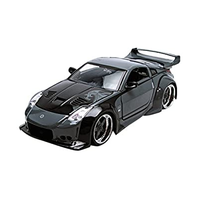 "D.K.'s Nissan 350Z Black ""Fast n Furious"" Movie 1/24 by Jada 97172 Full Body Grey Design and Black Hood: Toys & Games"