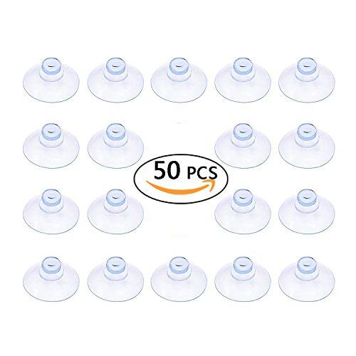 TEKEFT 50 Count Clear Plastic Suction Cup without Hooks (20MM, 50PCS)