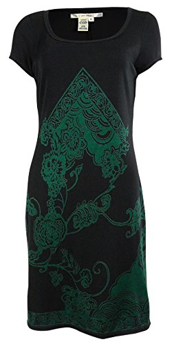 Ponte Scoop Neck Dress (Studio M Women's Paisley Scoop Neck Ponte Dress (S,)