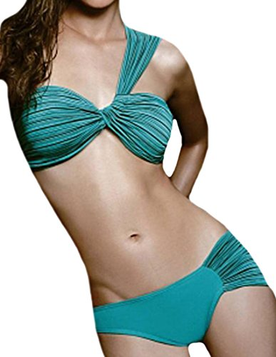 ARRIVE GUIDE Women's Sexy One Shoulder Pleated Triangle Bikini Green S