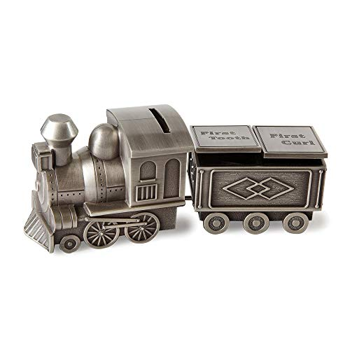 - FB Jewels Solid Pewter Finish Train Bank, Tooth and Curl Set