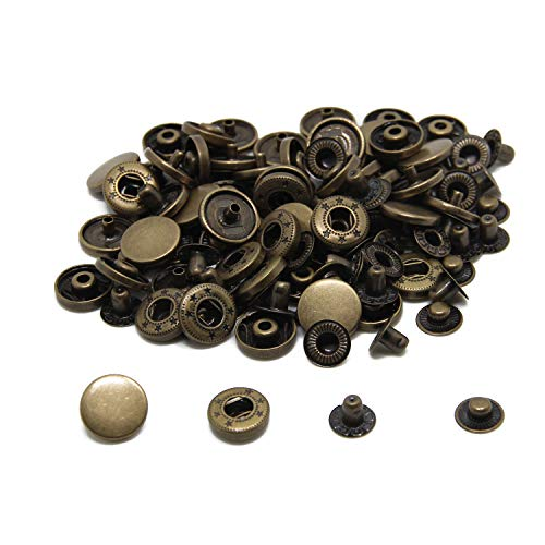 30 Sets Heavy Duty Snap Fasteners, BetterJonny 15mm Antique Brass Poppers Press Stud Rivet for Leather Craft Sewing Clothing