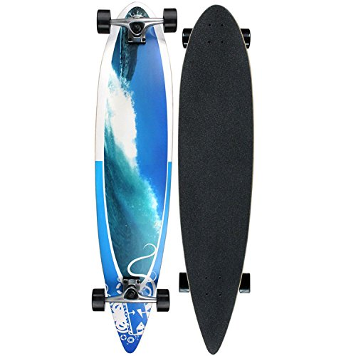 Krown Wave Crest Pintail Longboard, Blue, 9