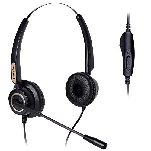 Volume and Mute Switch Headphone Office Binaural Headset with Microphone  RJ9 Plug Only for Cisco IP Phones 794X 796X 797X 69XX Series and
