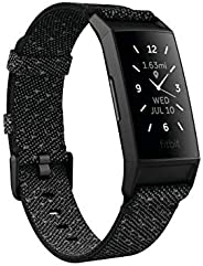 Fitbit FB417BKGY-FRCJK Charge 4 fitness and Activity Tracker with Built-In Gps, Heart Rate, Granite, One Size