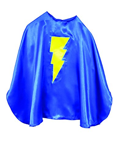 Superfly Kids Superhero Cape With Emblem (Blue With Yellow Lightning)]()