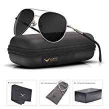 Mens Sunglasses Aviator Polarized Black by LUENX, LightWeight Metal Frame,Large 60mm Lens,with Case,for Driving,Fishing,Outdoor,Travel