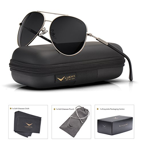 Mens Womens Sunglasses Aviator Polarized Black by LUENX, LightWeight Metal Frame,Large 60mm Lens,with Case,for - Men Frame Large Sunglasses