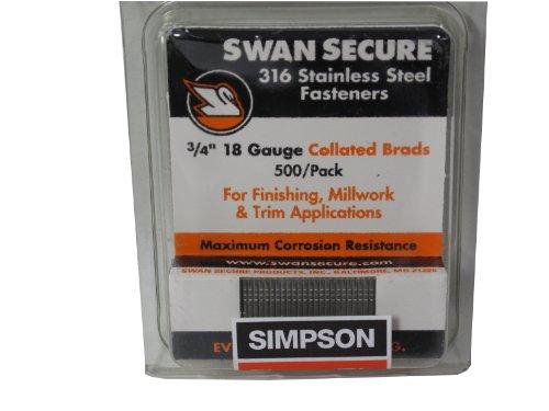Simpson Swan Secure T18N075FNB 18-Gauge 316 Stainless Steel 3/4-Inch Brad Nails, 500 Per Box