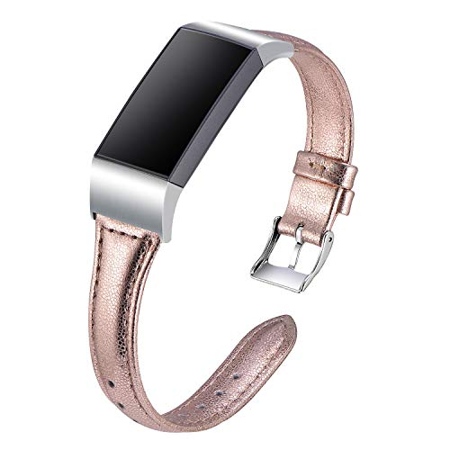 Minfex Compatible with Fitbit Charge 3 & Charge 3 SE Bands, Retro Genuine Leather Band Replacement Strap Sport Wristband Fitness Accessories for Fitbit Charge 3 Rose Gold L