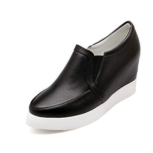 Balamasa Meisjes Puntige Teen Pull-on Geïmiteerd Lederen Pumps-schoenen Zwart