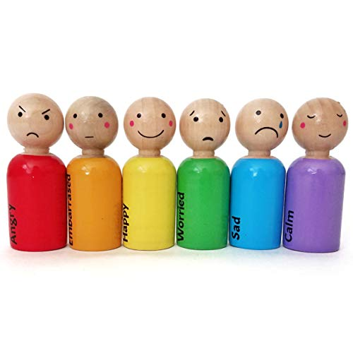 My Felt Story - Feelings/Emotions Rainbow Wooden Peg Dolls, Set of 6