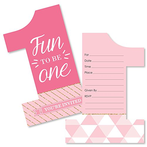 1st Birthday Girl - Fun to be One - Shaped Fill-In Invitations - First Birthday Party Invitation Cards with Envelopes - Set of 12 (Invitation One Birthday)