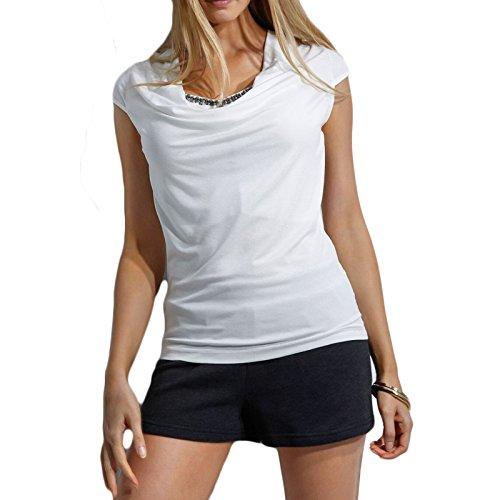 3abd959577a0 Damen T-shirt Strass Kurzarm V-Ausschnitt Schlank Großformat Casual Falten  Tops Blusenbody Oberteile