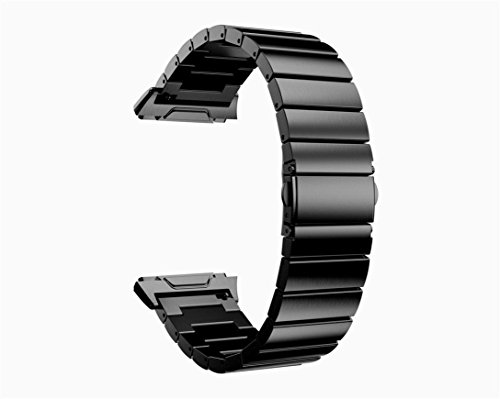 (Amanod Solid Stainless Steel Watch Strap Metal Bands for Fitbit Ionic Accessory (130-210mm, Black))