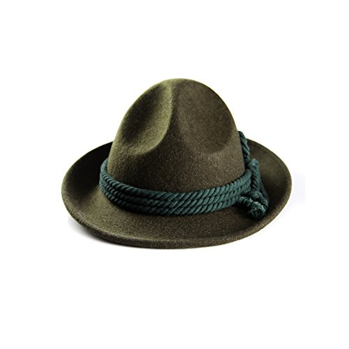 Almbock Trachtenhut Herren - grün in den Größen 57 59 61 bayrischer Hut mit rustikalem Kordel-Design für Männer