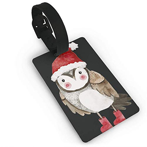 Homlife Cute Bird with Santa Hats PVC Travel Luggage Tag with Strap for Baggage Bag/Suitcases - Business Card Holder Name ID Labels Set for Travel