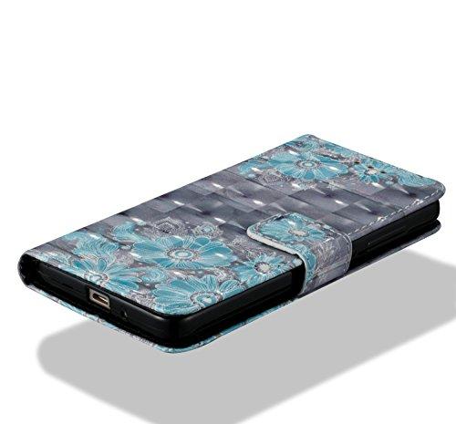 Para Xiaomi Redmi 4A funda, Ecoway pintura 3D caja del teléfono de la PU patrón en relieve ,Función de Soporte Billetera con Tapa para Tarjetas correa - Mariposa dorada Flor azul