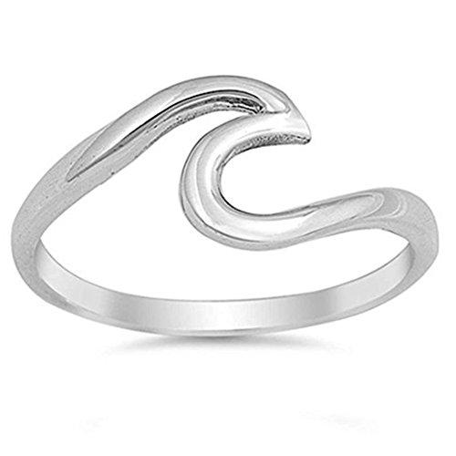 wintefei Simple Wave Cut Girl Ring Stainless Steel Wedding Finger Jewelry (Silver)