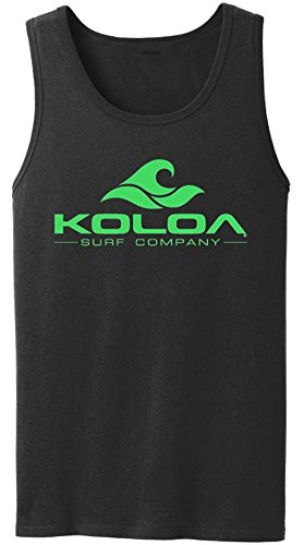 Koloa Surf Classic Wave Logo Heavyweight Cotton Tank Top-Black/Green-M