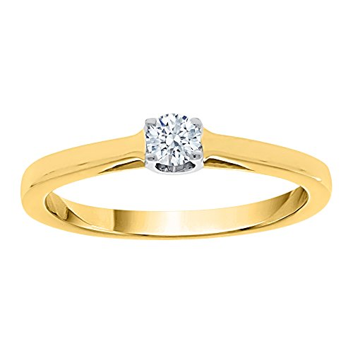Diamond Solitaire Engagement Ring in 10K Yellow Gold (1/6 cttw) (I-Color, SI3-I1 Clarity) (Size-6.5)