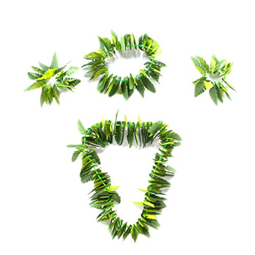 Fortuning's JDS Hawaiian Artificial Leaves Garland Necklace Headband Wristband Party Decorations (4Pcs) -