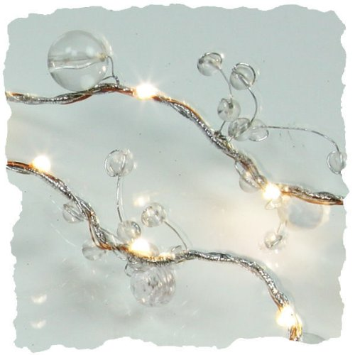 Clear - Jewel Bead Garland - 36 LED Lights - 3-Function C...
