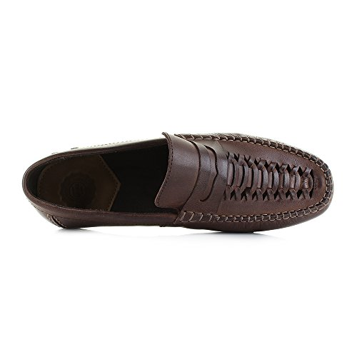 Loafer Slip Shoes Mens London Leather Brown Waxy Weaved on Palmer Base WH8nqPYW