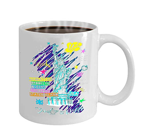 Funny Gifts for Halloween Party Gift Coffee Mug Tea new york city statue liberty ny doodle hand drawn -