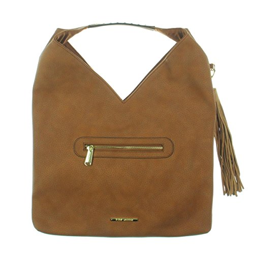 Faux Studded Handbag Leather Bcomfyy Womens Hobo Steve Cognac Madden awqtFpH